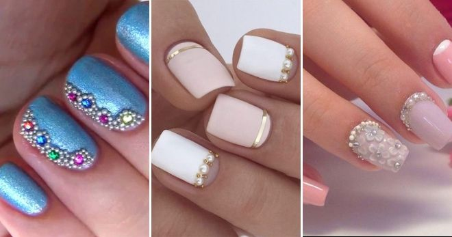 Manicure for short nails with bouillon miniature