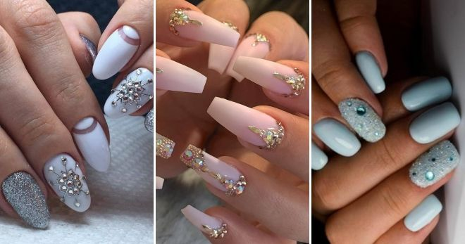Manicure for long nails with bouillons and rhinestones