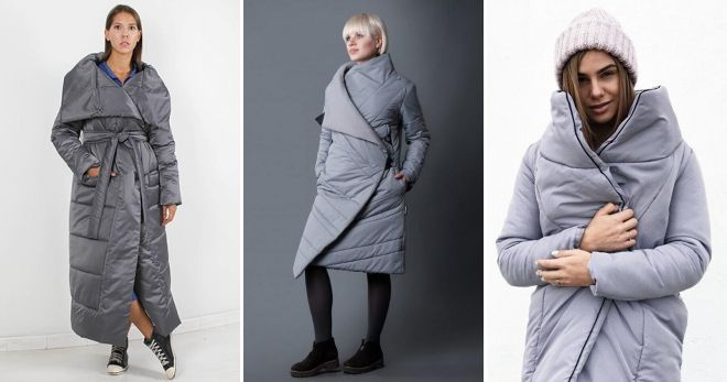 Gray down jacket quilt