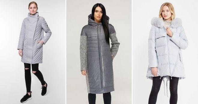 Gray down coat straight