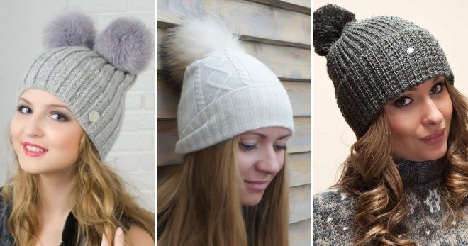 What hat to wear a gray down jacket with a pompon