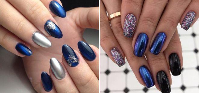 дизайн ногтей в синем цвете 7