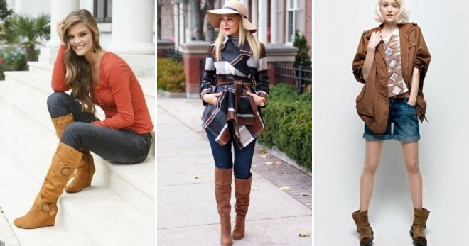 What to wear with brown wedge boots.
