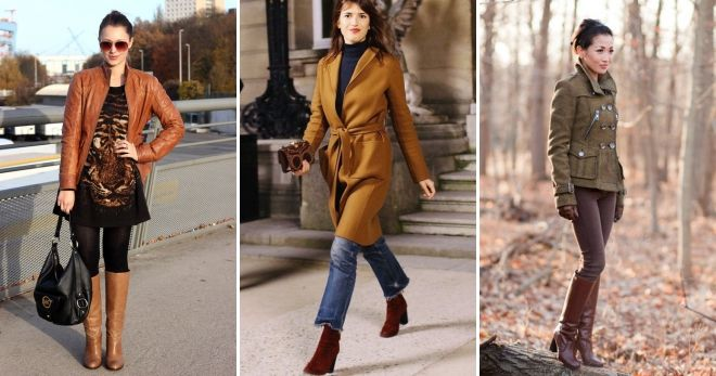 What to wear with brown heeled boots.