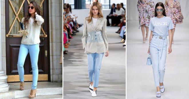Модные цвета джинсов 2019 голубой