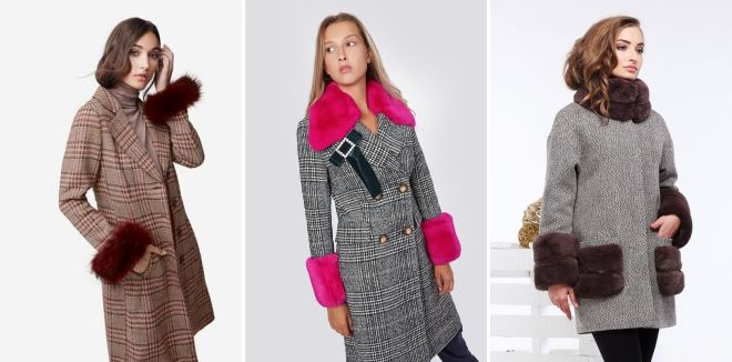 Checked coat with fur sleeves
