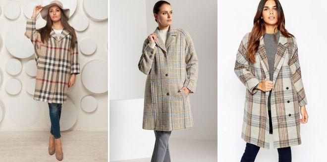 Oversized Check Beige Coat