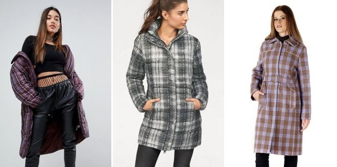 Quilted check coat