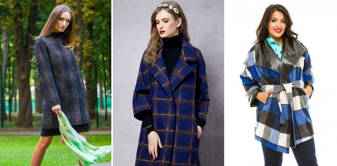 Coat in a large cell blue