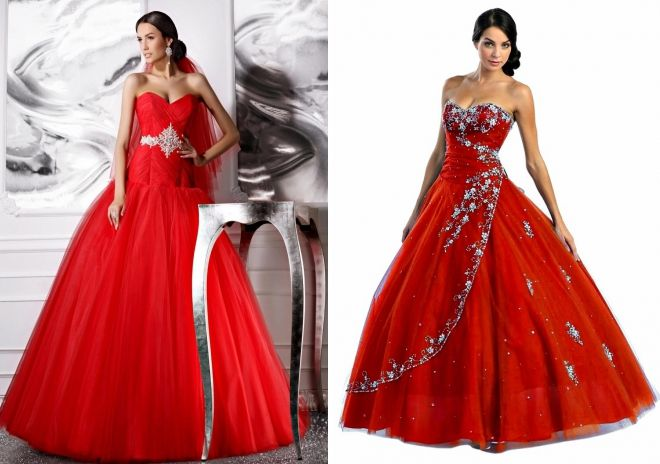 red fluffy wedding dresses