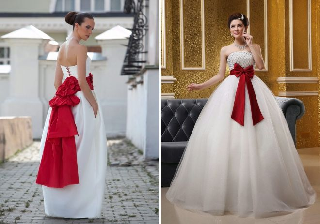 wedding dress with a red bow