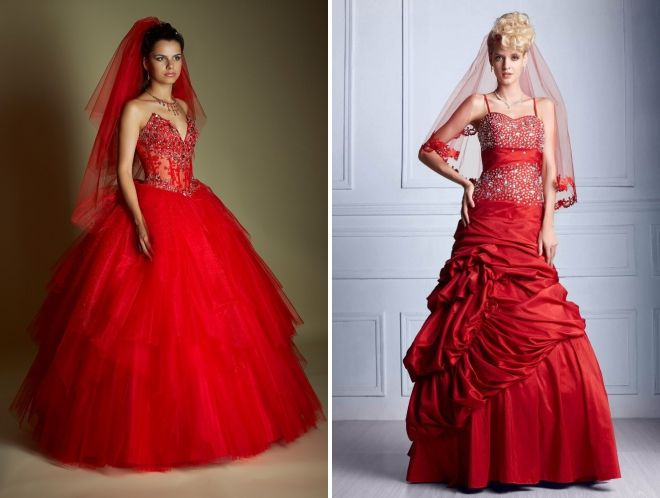 red wedding dress with veil