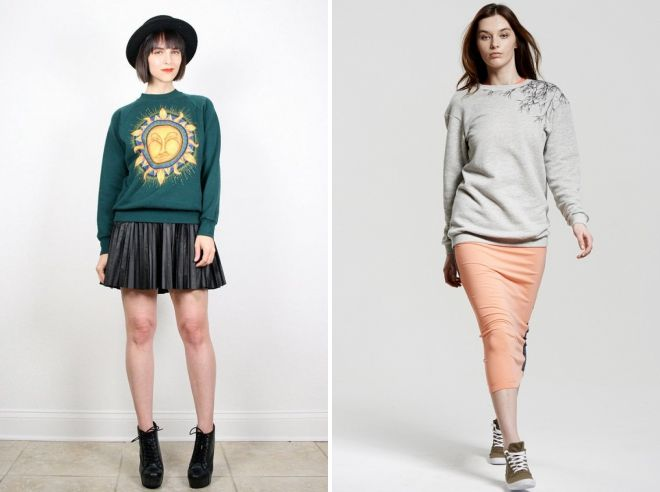 sweatshirt with skirt