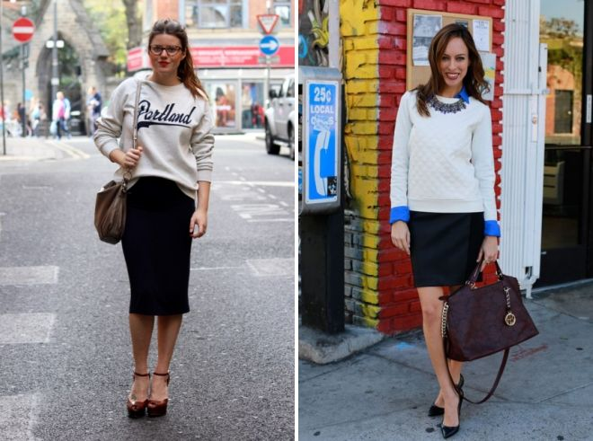 what to wear with a female sweatshirt at work