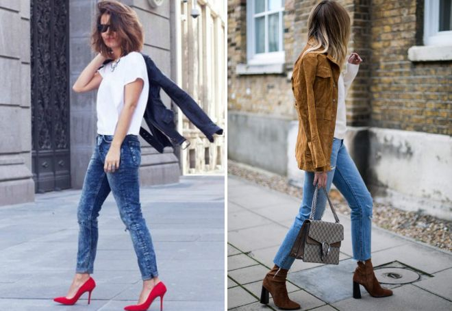 jeans with shoes in heels