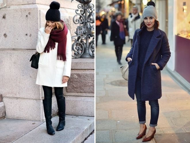 coat and hat with pompon