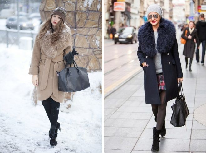 hat to coat with fur collar