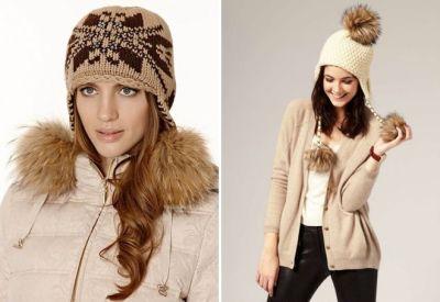 ushanka hat with fur pompoms