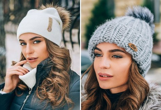 women's hat with fur pompon