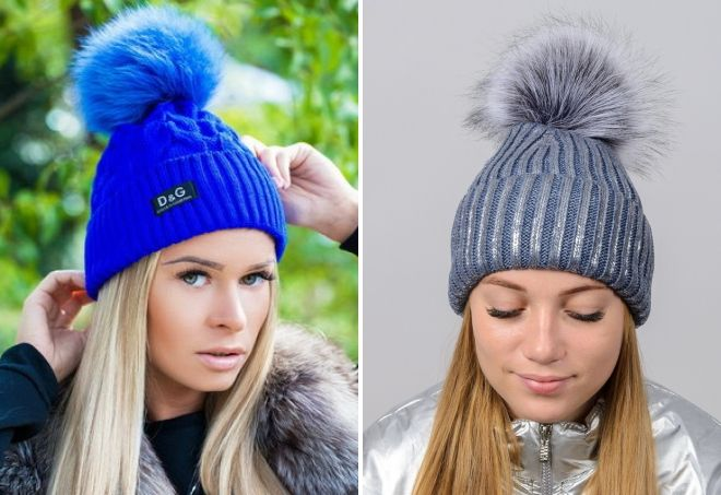 hat with a large fur pompon