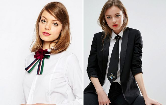 tie in the female wardrobe