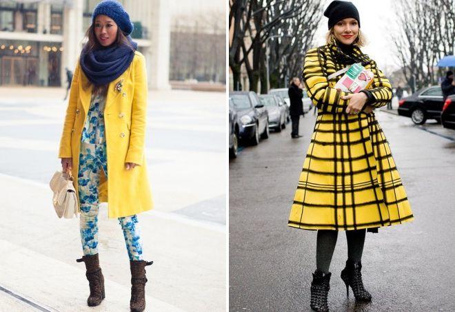 hat to yellow coat