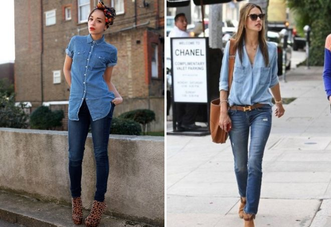 jeans with denim shirt
