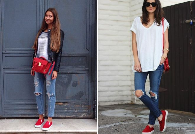 what to wear with red slip-on sneakers