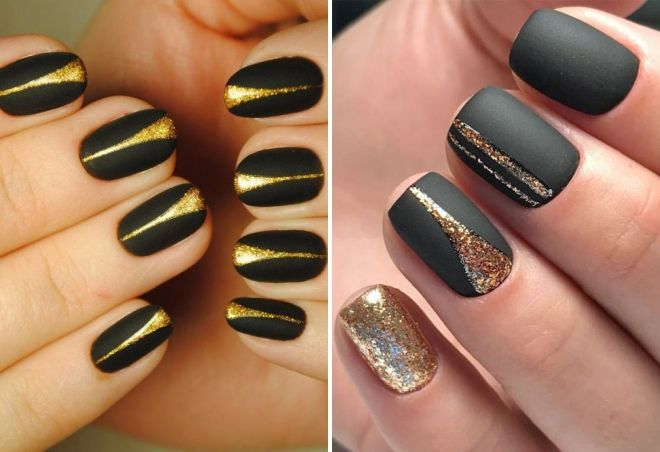 black manicure with gold sparkles