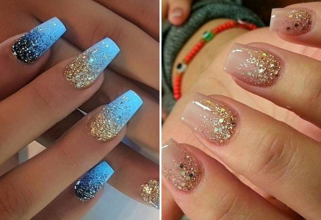 manicure with gold spangles