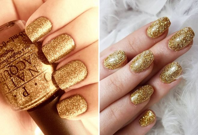 manicure in gold color with sparkles