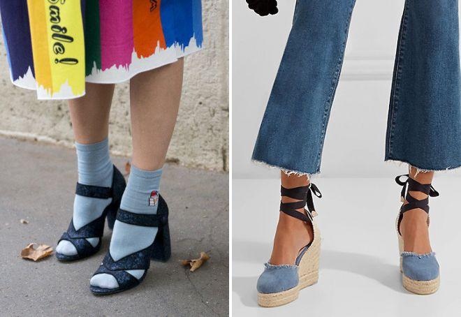 denim sandals with socks