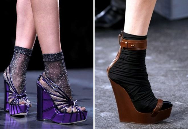 wedge sandals with socks