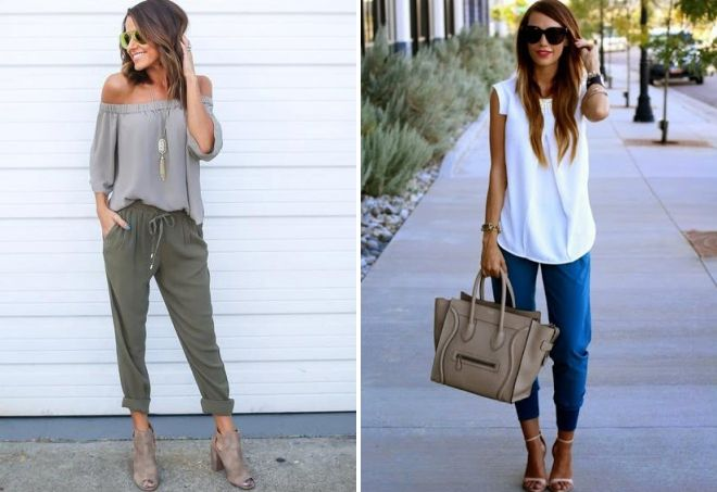 female joggers with blouse