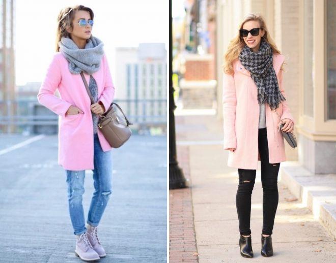 pink coat scarf