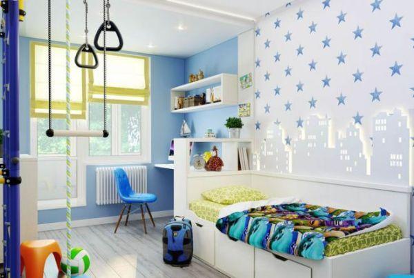 Детская комната для мальчика - обои, фотообои, мебель, шторы