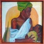 femme noire donnant le sein