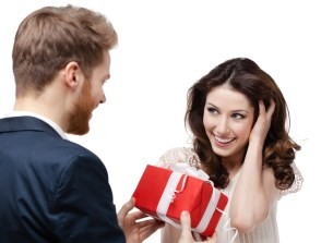 Man makes present to his sweetheart
