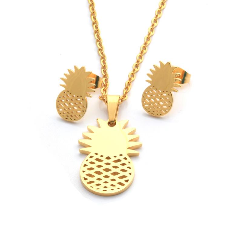 Modern Craft Pineapple Gold Jewelry Set PN-015   Womandilax ...