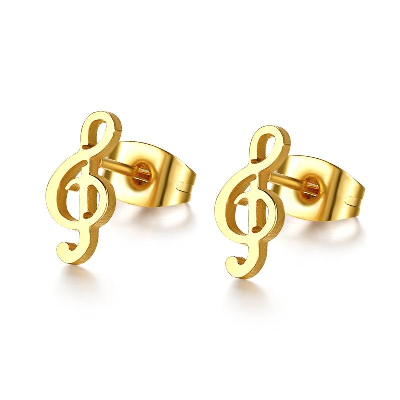 Cute Violin Key Gold Earrings WE-027 | Womandilax™ | Shop Women\'s ...