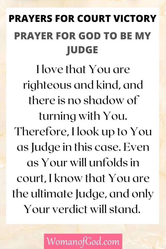 Prayers for Court Victory Prayer For God To Be My Judge