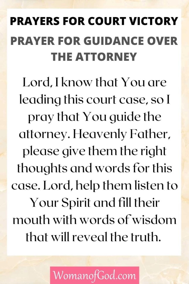 Prayers for Court Victory Prayer For Guidance Over The Attorney