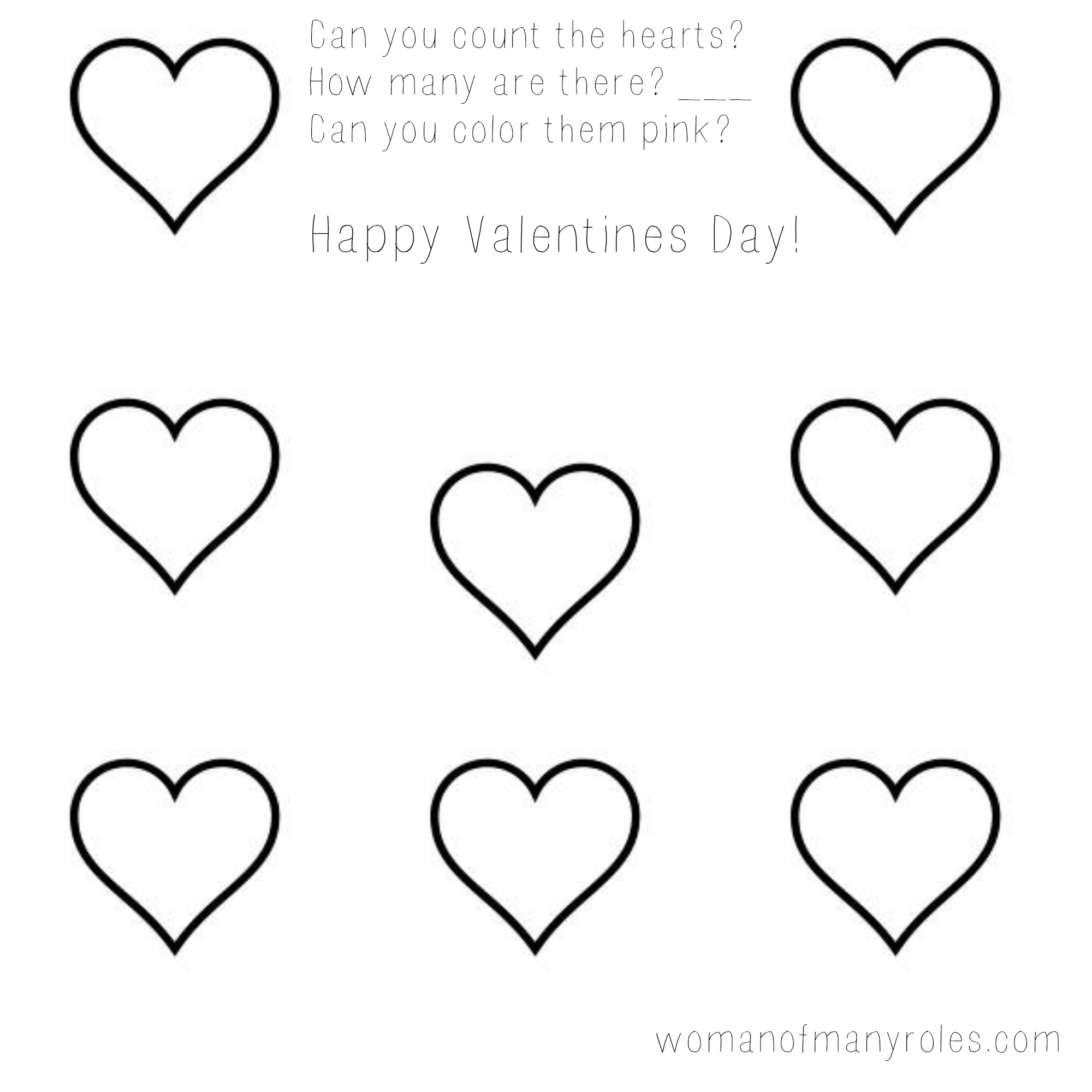 Heart Counting Printable Preschool Worksheet Woman Of Many Roles