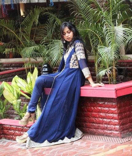 Royal blue Anarkali suit