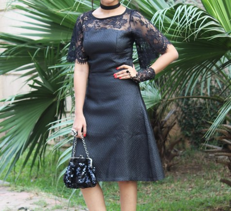 Lace Little black dress with boots