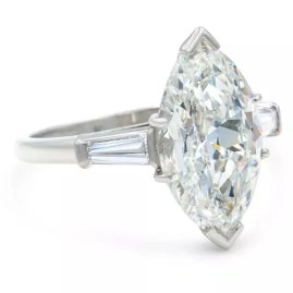 Rachel Koen Three Stone 5.40ct Marquise Diamond Engagement Ring-2