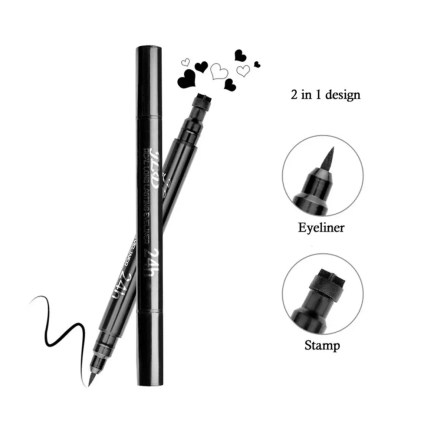 Pinkiou Eyeliner Pencil Pen with Eye Makeup Stamp Waterproof Double Sided Long Lasting Seal Eyeliner