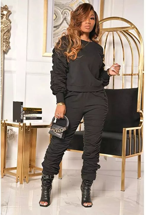 KANSOON Women 2 Piece Tracksuit with stacked leggings