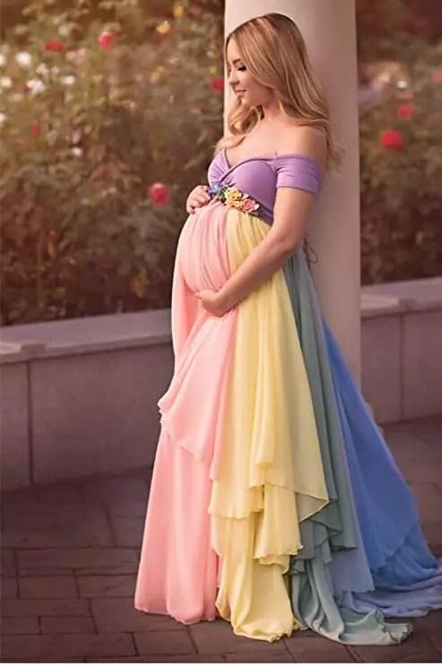 Rainbow Maternity Evening Dress