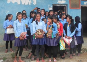 nepal girls with bags